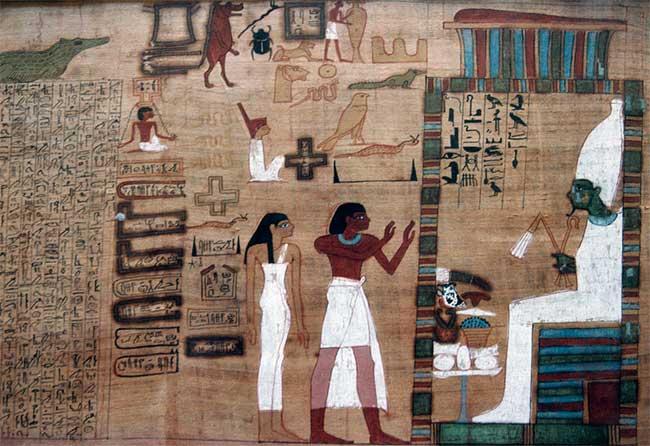 Con đường đến với Osiris (ngồi trên ngai), vị thần của cái chết.