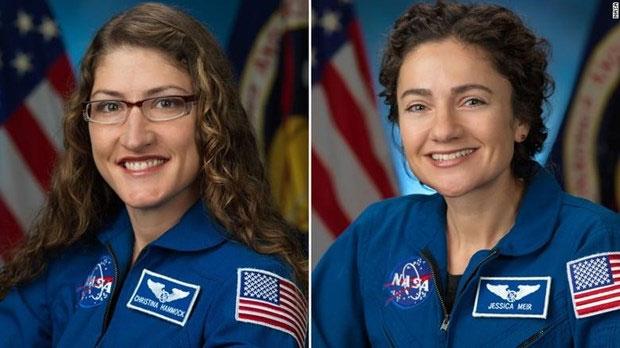 Hai nữ phi hành gia Christina Koch và Jessica Meir sẽ đi ra ngoài không gian trong ngày 21/10.