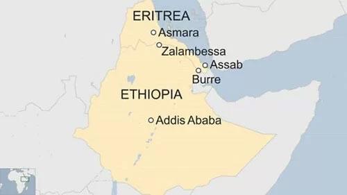 Vị trí Ethiopia và nước láng giềng Eritrea ở vùng Sừng châu Phi.