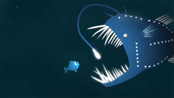 Con cá quỷ Anglerfish đang há to miệng chờ sẵn đớp mồi