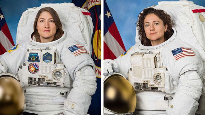 Chân dung Christina Koch (trái) và Jessica Meir.