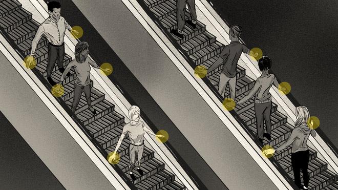 Minh họa về cách đi thang cuốn đúng chuẩn theo Otis