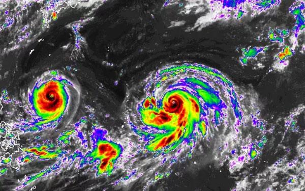 """Sự xuất hiện của song bão chứng minh Tây Thái Bình Dương là """"ổ bão"""" dữ dội nhất trên Trái Đất."""