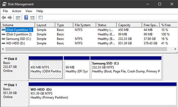Để biết được các vùng ổ đĩa của bạn trên Windows, gõ disk management trên thanh tìm kiếm