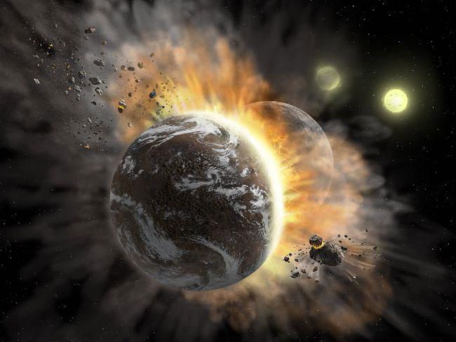 2 hành tinh giống Trái đất vừa đâm sầm vào nhau, bắn mãnh vỡ khắp vũ trụ