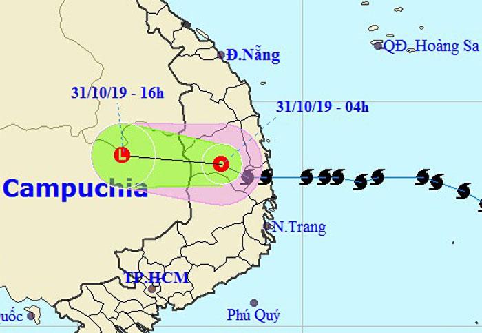 Hướng đi của áp thấp nhiệt đới của Trung tâm dự báo Khí tượng Thủy văn Quốc gia.