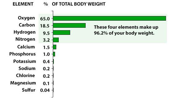 96% cơ thể người được hợp thành từ 4 nguyên tố chính: Oxy, Carbon, Hydro và Nitơ.