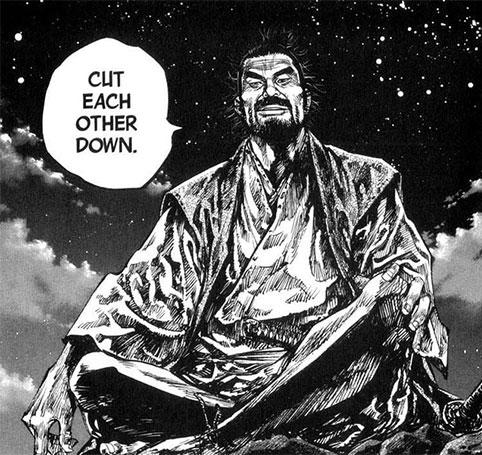 Tạo hình của Itō Ittōsai trong bộ manga nổi tiếng Lãng khách (Vagabond).