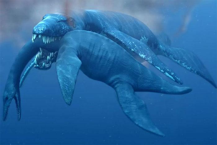 Quái vật biển Pliosaur săn thằn lằn đầu rắn.