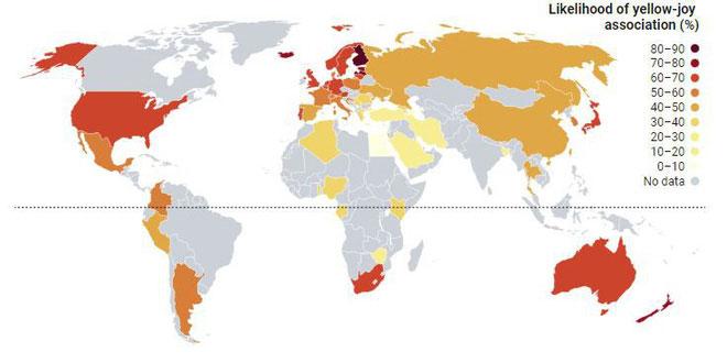 Bản đồ cảm xúc tương thích với màu vàng của các quốc gia trên thế giới.
