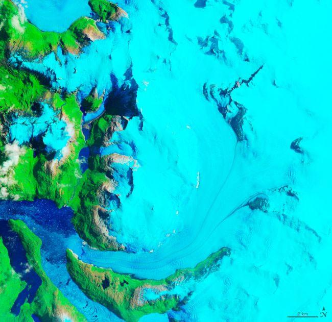 Sông băng Hielo Patagónico Sur 12 (HPS-12), chụp từ vệ tinh vào ngày 27-1-1985.