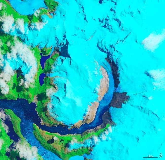 Sông băng Hielo Patagónico Sur 12 (HPS-12), chụp từ vệ tinh vào tháng 1-2019.