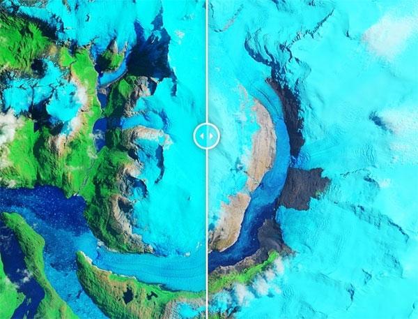 Nửa sông băng bên trái cách đây 30 năm còn đầy băng, nửa sông băng bên phải băng đã tan chảy gần hết.