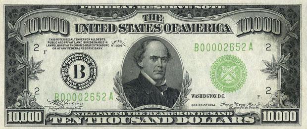 Salmon P. Chase trên tờ tiền 10.000 USD.