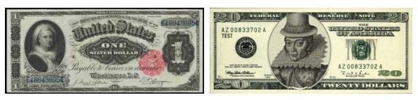 Chân dung Martha Washington in trên tờ 1 đô và Pocahontas in trên tờ 20 đô cũ.