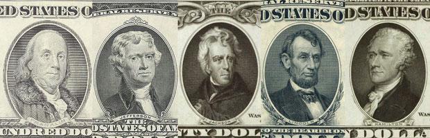 Chân dung in trên các tờ tiền được lưu hành hiện nay.
