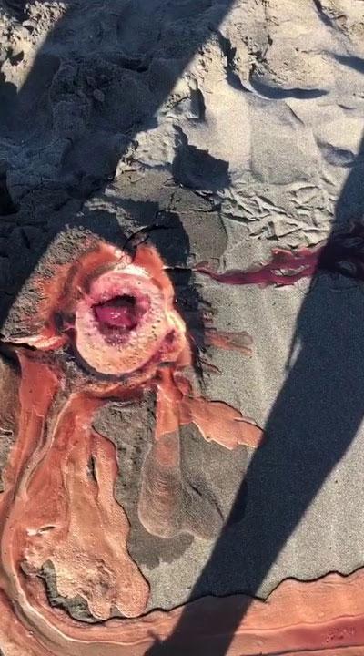 Miệng hố kỳ lạ liên tục sủi bọt và phun ra chất lỏng màu đỏ sẫm như máu trên bề mặt cát.