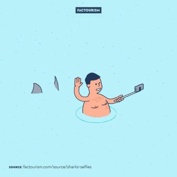 Số người chết vì chụp selfie còn nhiều hơn vì cá mập cắn
