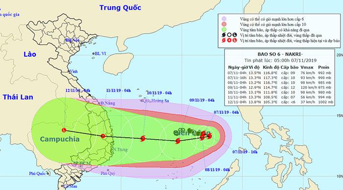 Vị trí và hướng di chuyển của bão Narki.