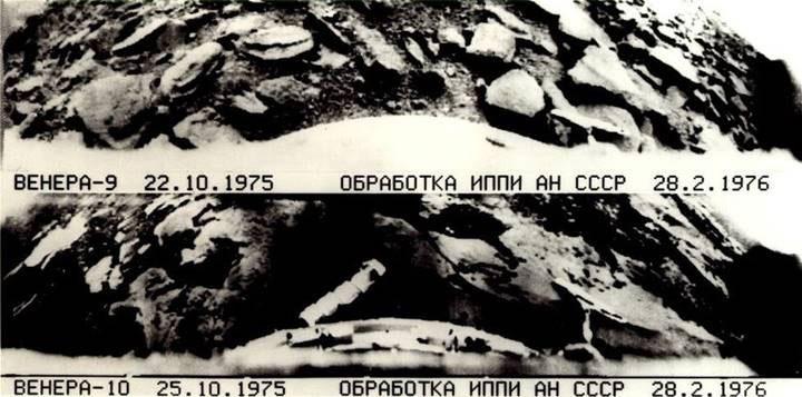Ảnh toàn cảnh của Venera 9 là hình trên và Venera 10 là hình dưới.