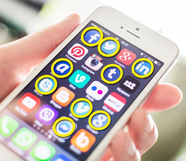 Biểu tượng mạng xã hội - màu xanh lam