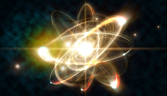 Hình ảnh minh họa cận cảnh mức độ nguyên tử của năng lượng hạt nhân.