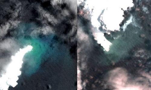 Ảnh chụp vệ tinh vào thời điểm núi lửa phun trào.