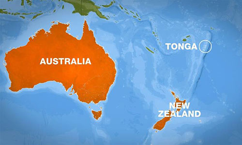 Vị trí quốc đảo Tonga.