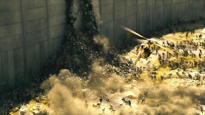 Binh đoàn zombie tấn công thành phố Jerusalem trong phim World War Z.