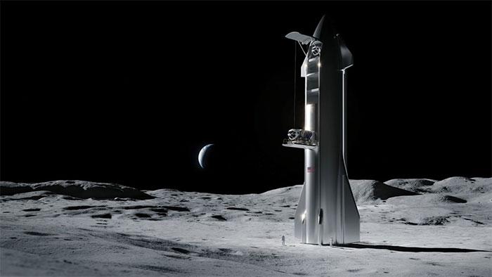 Đồ họa mô phỏng tàu đổ bộ Starship trên bề mặt Mặt Trăng