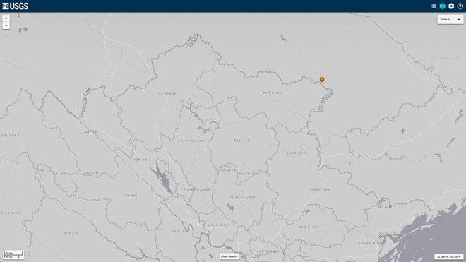 Vị trí trận động đất theo quan trắc của Cục Khảo sát Địa chất Mỹ.