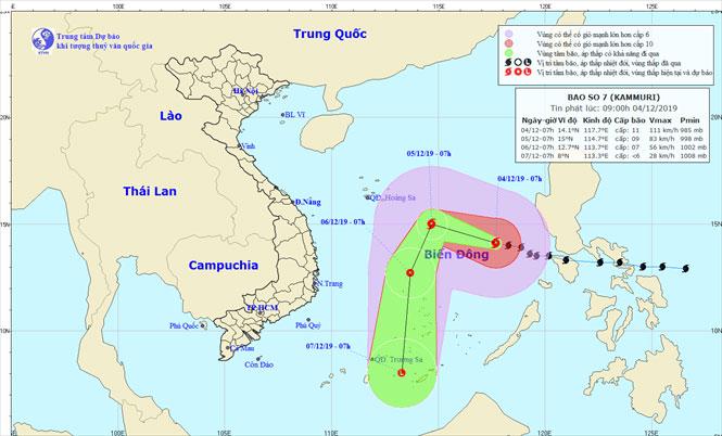 Vị trí và hướng di chuyển của bão số 7.