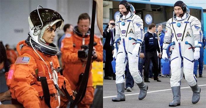 Các phi hành gia mặc quần áo màu trắng để phản xạ được bức xạ vũ trụ hiệu quả.