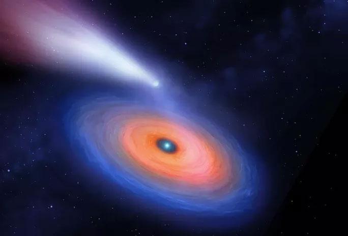Ảnh đồ họa mô tả hành tinh với cái đuôi khí dài kỳ lạ đang quay quanh một ngôi sao lùn trắng