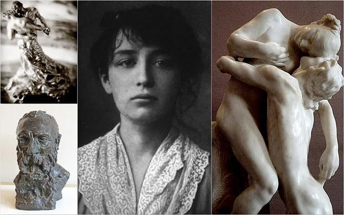 Camille Claudel (giữa) và những tác phẩm nổi tiếng của mình.