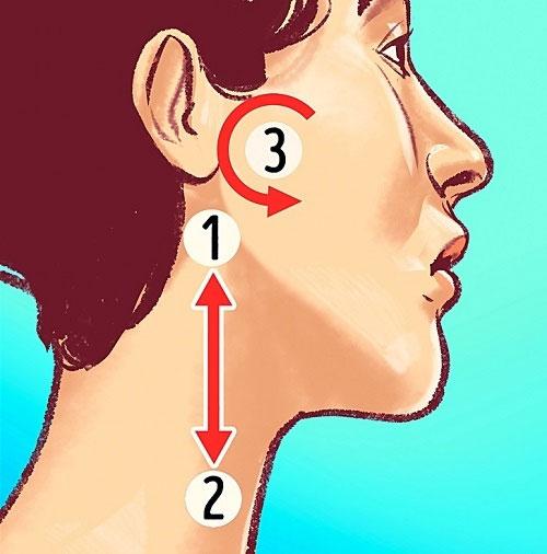 Việc xoa bóp các khu vực này sẽ giúp giảm căng thẳng cơ cổ và giúp lưu thông máu lên não.