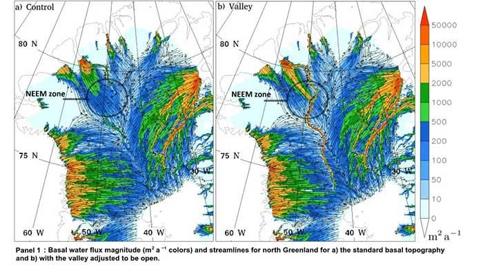 Dòng nước ở phía bắc Greenland với sự hiện diện của một thung lũng trải dài dưới lớp băng hà.
