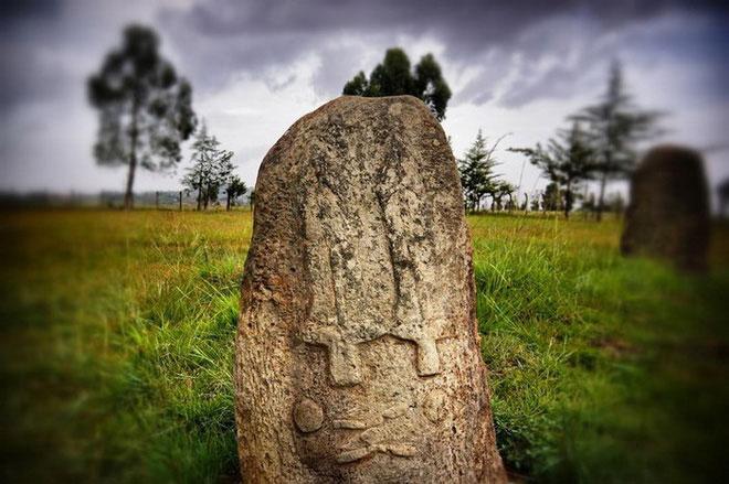 Có gần 50 tảng đá, 22 trong số đó khắc biểu tượng gấu Tiya.
