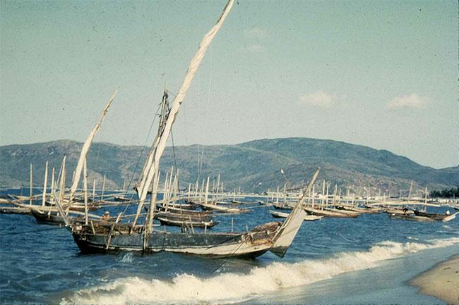 Những con thuyền của ngư dân trên bãi biển.