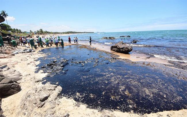 Trong ảnh, các tình nguyện viên cố gắng xử lý sự cố tràn trên bãi biển Itapuama ở Cabo de Santo Agostinho, bang Pernambuco, Brasil.