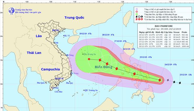 Sơ đồ dự báo hướng đi bão Phanfone