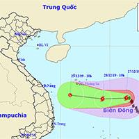 Bão Phanfone giật cấp 14, cách đảo Song Tử Tây 480km, biển động dữ dội