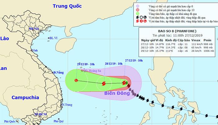 Vị trí và hướng di chuyển của bão Phanfone.