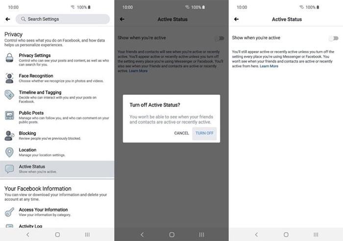 Tắt trạng thái online từ ứng dụng Facebook