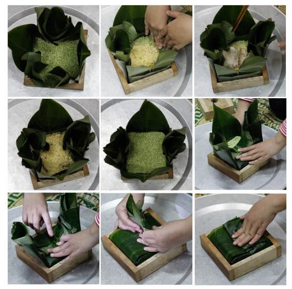 Cho nguyên liệu gói lần lượt vào phần khuôn lá đã được định hình