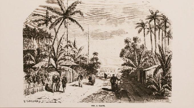 Tranh vẽ một khu phố Sài Gòn khoảng đầu thế kỷ 19, thời điểm thực dân Pháp chưa tấn công.