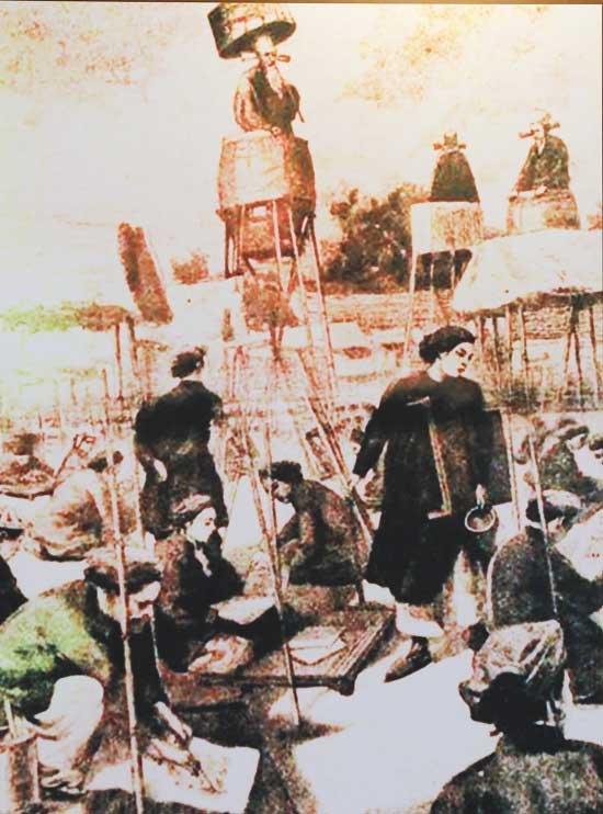Tranh vẽ cảnh sĩ tử lều chõng tại trường thi Gia Định trong thế kỷ 19.