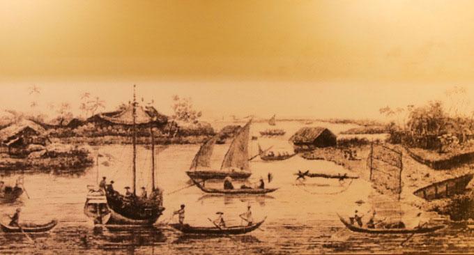 Tranh vẽ Sài Gòn trên bến dưới thuyền năm 1820 của sĩ quan hải quan Mỹ John White.