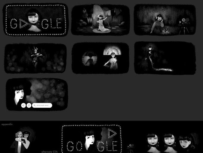 Nổi bật trong slideshow của Doodle là những hình ảnh trong cuộc đời cô
