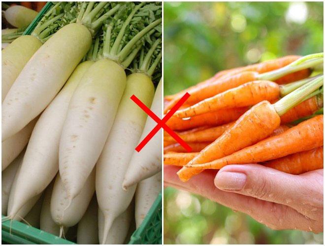 Cà rốt không kết hợp với củ cải